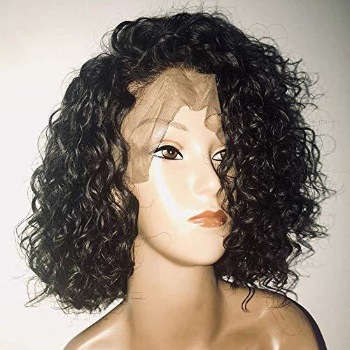 BT-WIGIG BOB Perruque Lace Frontale 130% Densite Bresilien Remy Cheveux Naturel Couleur Naturel pour Femme 14 Pouces