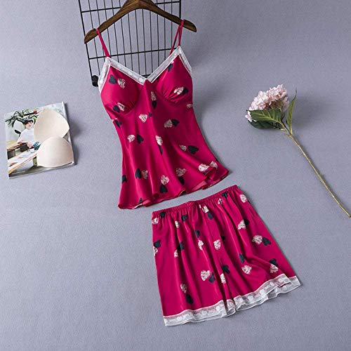 Pajamas, ladies pajamas set Pajamas set casual silky satin comfortable, close-fitting, night battle home service L XL,red,L Red Large