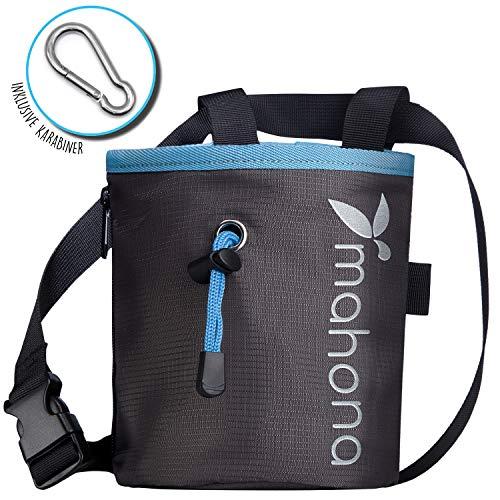 Chalk Bag Set zum Bouldern & Klettern | Magnesium Pulver Tasche inkl. Schlüssel Karabiner & Schlaufe für boulder bürste | Mit dieser Chalkbag Boulder Tasche wie ein Profi mit Magnesium klettern