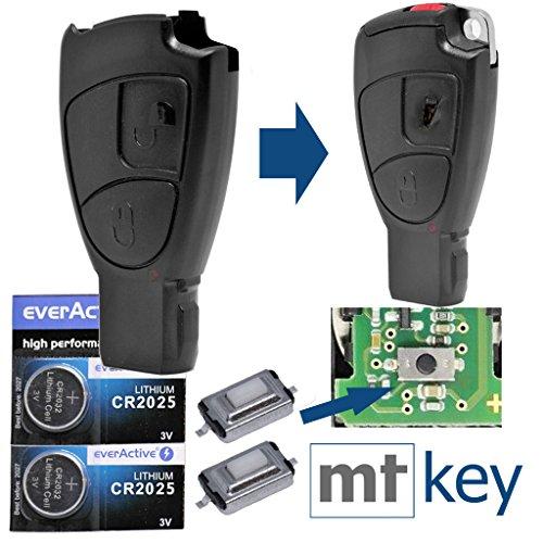 Auto Schlüssel Smartkey Funk Fernbedienung Sender 2 Tasten Gehäuse 2X Mikrotaster 2X CR2025 Batterie für Mercedes Benz