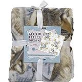 Elephants No-Sew Throw Blanket Fleece Fabric Kit (50x60)