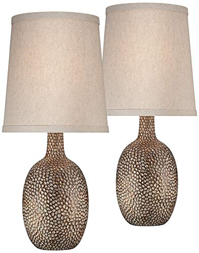 Chalane Modern Accent Table Lamps Set of 2 Hammered Antique Bronze Natural Linen Tapered Shade for Living Room Family Bedroom - 360 Lighting