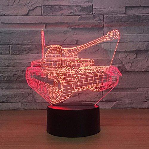 Preisvergleich Produktbild Jinson well 3D panzer auto Lampe optische Illusion Nachtlicht,  7 Farbwechsel Touch Switch Tisch Schreibtisch Dekoration Lampen Weihnachtsgeschenk mit Acryl Flat USB Spielzeug
