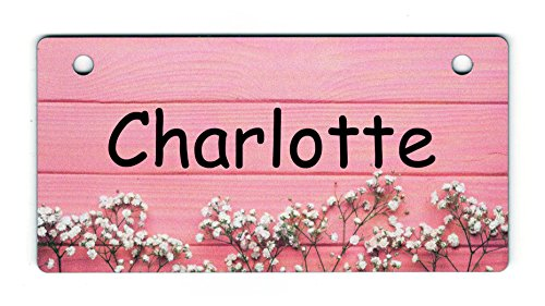 Personalized Pet Crate Tags 5x2½ inches - Customize - Choice of 21 Unique Designs (Baby's Breath on Pink Design)