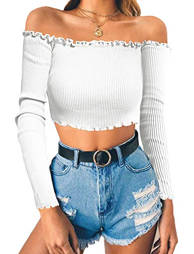 PRETTODAY Women's Sexy Off Shoulder Crop Tops 10 Colors Summer Long Sleeves...