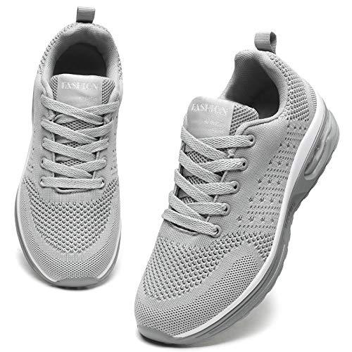 GAXmi Zapatillas Deportivas Mujer Zapatos de Malla Transpirables y Ligeros con Cordones y Cojín de Aire para Running Fitness Potenciar Gris 39 EU