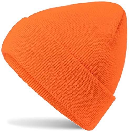 Hatsatar Unisex warme Beanie Strickmütze | Wintermütze für Damen & Herren | Feinstrick Mütze doppelt gestrickt | warm & weich (neon orange)