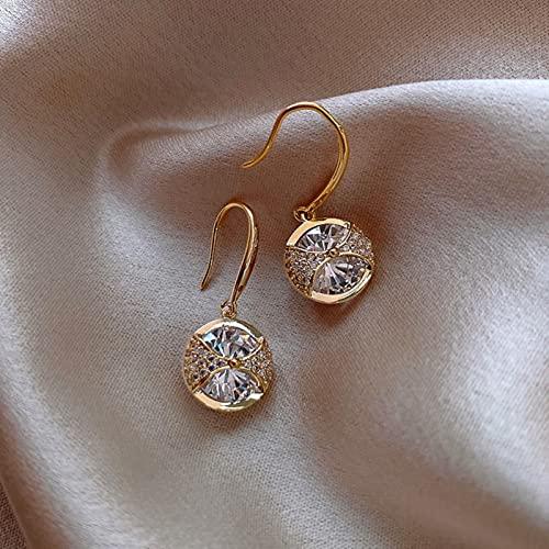 ZXCM Moda Redondo Simple Cristal cuelga Pendientes para Mujeres Moda Moda Dulce Agua caída Colgante Pendiente niña Fiesta cumpleaños joyería Regalo