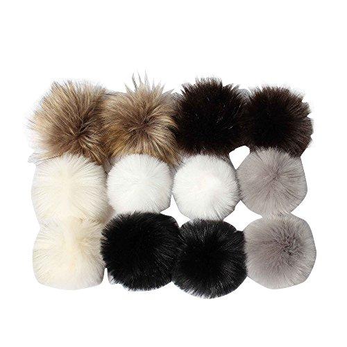 """DIY 12pcs Faux Fuchspelz Fluffy Pompom Ball zum Stricken Hüte, Taschen, Schlüsselanhänger, Schuhe, 10cm (4\"""") Mix Farben Set"""