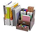 PAG Wood Desk Organizer Mail Holder Office Supplies and Accessories Storage Caddy with Drawer for Men Women Girls, Brown