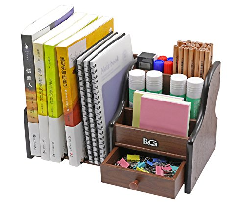 PAG Wood Desk Organizer Office Supplies Caddy 3 Upright File Holder with Drawer,Brown