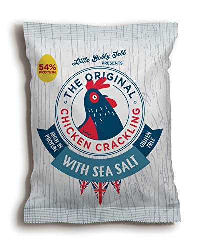 Chicken Crackling Hand Cooked Snack. New Double Cooked, Sea Salt Flavour. Low Carb, High Protein, Keto, Gluten Free Alternative to Pork Scratchings. 10x 30g Bags