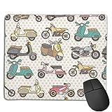 Jujupasg Mauspad Mit Verriegelungskante, Rutschfestes Mousepad Auf Gummibasis Für Laptop, Computer Und PC, 7,1'x 8,7'-Fun Scooter Motorrad Moped