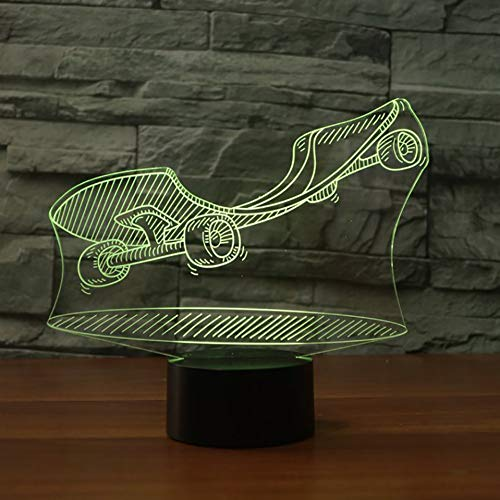LPHMMD Night Light Skateboard 3D LED Nachtlampjes met 7 Kleuren Licht voor Home Decoratie USB Lamp Verbazingwekkende Optische Verlichting Vriend Xmas Gift