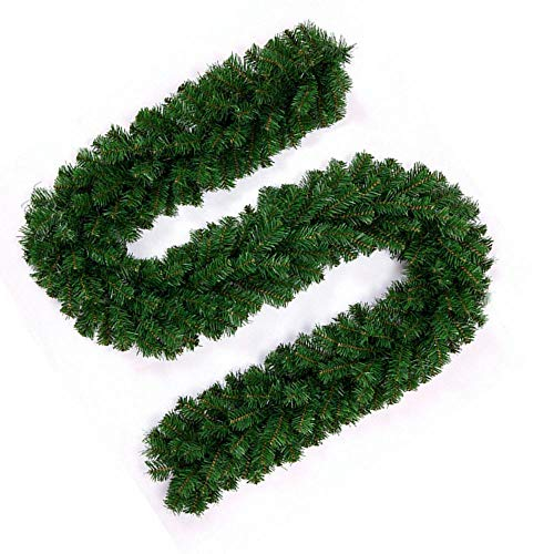 Littleduck 2.7m Christmas Garland Luxury 220 Tips 9ft Plain Green Artificial Pine Wreath Xmas Stairs Fireplaces Decoration