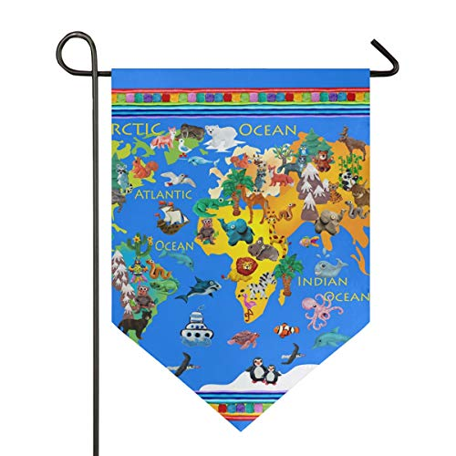 JIRT Garden Flag Cartoon Animal Map Gift Polyester Yard Welcome Double Sided Banner