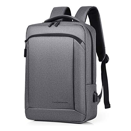 SDINAZ Business Laptop Backpack with USB Charging Port Slim Water Resistant Bag Fits 15.6 Inch Computer Notebook Rucksack for Work UK944 Grey