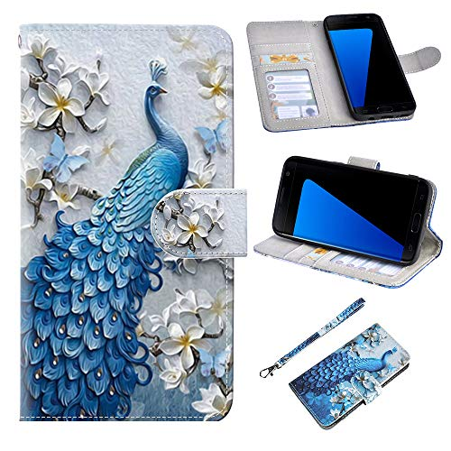 UrSpeedtekLive S7 Case, Galaxy S7 Wallet Case, Premium PU Leather Wristlet Flip Case Cover with Card Slots & Stand for Samsung Galaxy S7, Peacock