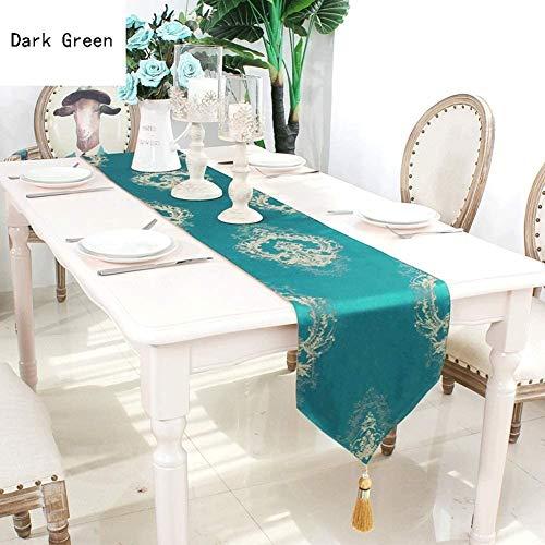 Tischläufer tischdecken Seidengewebe Tischläufer  Palast Geschnitzt Jacquard Muster Europäische Stoff Tischdecke Sideboard Wedding Festival Home Decor Geschenk ( Color : Navy Blue , Size : 30X210cm )