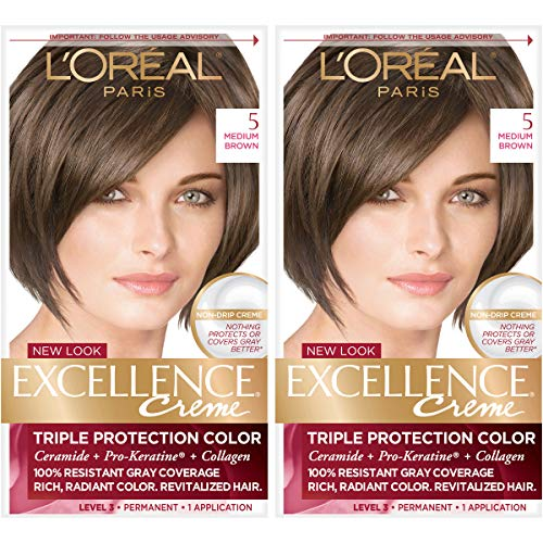 L'Oreal Paris Excellence Creme Permanent Hair Color, 5 Medium Brown, 100 percent Gray Coverage Hair Dye, Pack of 2