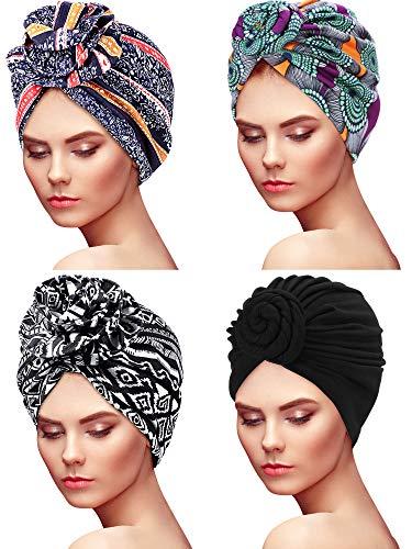 SATINIOR 4 Stücke Afrikanischer Turban für Frauen Muster Kopftücher Knot Elastische Knoten Kappe Vorgebundene Mütze Schlafmütze