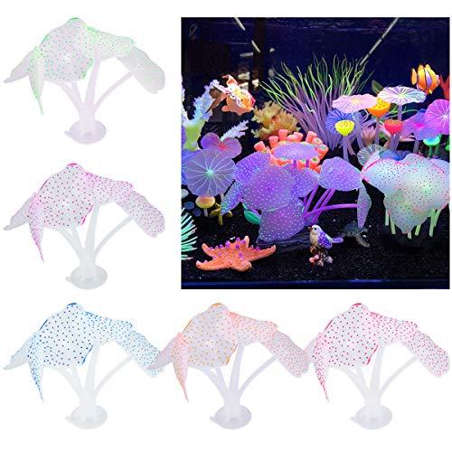 wangjiangda Wasserpflanzen Aquarium 5 Stück Silikon Pflanzen Aquarium Dekorationen Glowing Effect Aquarium Dekor Kleine Silikon Künstliche Quallen Korallen Pflanze Ornament