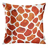 Magictop Throw Pillow Cover Afrique Blanche Motif d'aquarelle avec des girafes Taches Aquarelle Animal Argile Firaffe Taie d'oreiller décoratif Home Decor Square 18x18 Pouces Taie d'oreiller