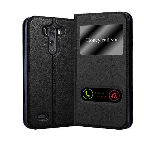Cadorabo Funda Libro para LG G3 en Negro Cometa - Cubierta Proteccíon con Cierre Magnético, Función de Suporte y 2 Ventanas- Etui Case Cover Carcasa