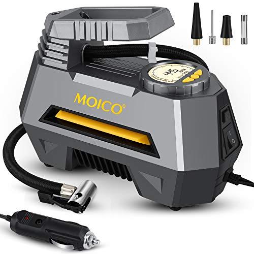 MOICO Portable Air Compressor Tire Inflator, 12V DC Auto Shut Off Digital Air Pump for Car Tires,Car Tire Pump with LED Light for Car,Bicycle,Balls