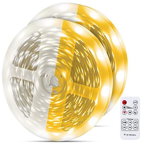 Dimbar LED-remsa varm vit 20 m, MMcRRx LED remsats varm vit 3 000 k & kall vit 6 000 k gör-det-själv LED-ränder med självhäftande för kök, skåp, vardagsrum, vitrinskåp