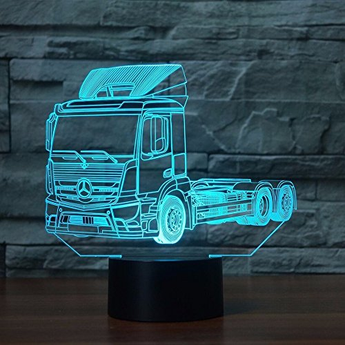 3D lkw - fahrzeug Optische Illusions-Lampen, Tolle 7 Farbwechsel Acryl berühren Tabelle Schreibtisch-Nachtlicht mit USB-Kabel für Kinder Schlafzimmer Geburtstagsgeschenke Geschenk