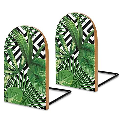 2 fermalibri in legno con stampa estiva giungla con foglie di palma tropicale, estremità per libri, libri di cucina, DVD, mosse retrò