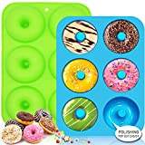Walfos Silicone Donut Mold - Non-Stick Silicone Doughnut Pan Set, Just Pop Out! Heat Resistant Up to 450°F, Make Perfect Donut Cake Biscuit Bagels, BPA FREE and Dishwasher Safe, Set of 2