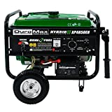 Dependable 7 HP air cooled DuroMax OHV engine Heavy duty frame with four point fully isolated motor mounts for smooth quiet operation Rated AC Output: 3,850 watts. Max AC Output: 4,850 watts Full power panel with advance oil warning light, key start ...