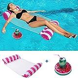 ENYACOS Lit de natation gonflable avec porte-gobelet gonflable, fauteuil 4 en 1 pour adultes et enfants, hamac à eau gonflable, chaises gonflables (C)