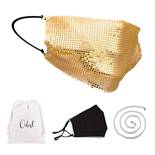 Sparkly Gold Metallic Mask Bling Women Costume Party Masquerade Shiny Jeweled Masks
