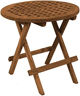 SeaTeak 60031 Round-Grate Top Folding Deck Table, Oiled Finish