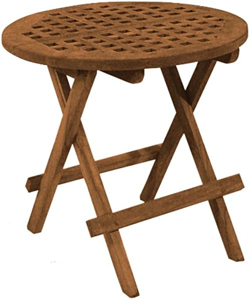 SeaTeak 60031 Round Grate Top Folding Deck Table Oiled Finish