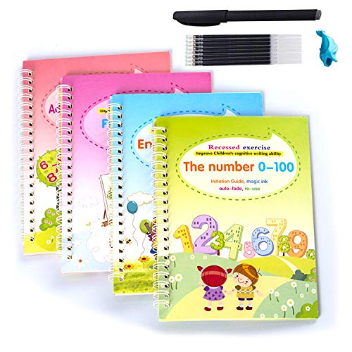 Magic Practice Copybook for Kids, 4 Pcs English Study Workbooks, Reusable Children's Calligraphy Letter Tracing Paper Mathematical Drawing Set, Calligraphy Paper to Teach Kids How to Writing