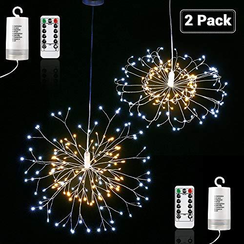 Qedertek Lot de 2 Guirlande Lumineuse à Piles avec Télécommande 150 LED Lumière de Feux d'artifice avec 8 Modes pour Décoration Jardin, Mariage, Fête (Blanc Chaud & Blanc)