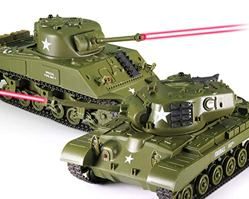 Product Image of the POCO DIVO Sherman vs Pershing Infrared Battle Tanks 2-Set Combat Fight Pair...