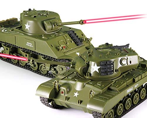 POCO DIVO Sherman vs Pershing Infrared Battle Tanks 2-Set Combat Fight Pair 2.4Ghz RC Battling Panzer Remote Control US Model Tank M4A3 M26