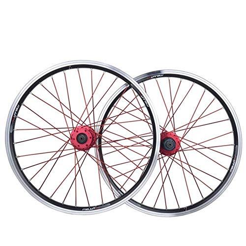 Ruote per Bici da Strada Ruote per Bicicletta BMX da 20 Pollici Cerchio in Lega A Doppio Strato Disco V Freno A Sgancio Rapido 7 8 9 10 velocità 32H,Black-20inch
