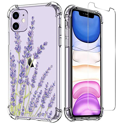 LUXVEER iPhone 11 Case with Tempered Glass Screen Protector,Floral Flower Pattern on Soft Clear TPU Cover for Girls Women,Slim Fit Protective Phone Case for Apple iPhone 11 6.1 inch Purple Lavender