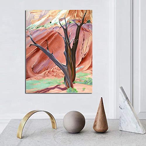 KWzEQ Árbol Abstracto Lienzo Pintura Imprimir Sala de Estar decoración del hogar Moderno Arte de la Pared Pintura al óleo Imagen del Cartel,Pintura sin Marco,70x90cm