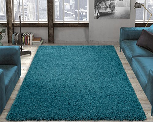 Ottomanson Soft Cozy Color Solid Shag Area Rug Contemporary Living and Bedroom Soft Shag Area Rug, Turquoise Blue, 5'3' L x 7'0' W