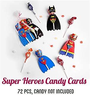 72 PCS Babofarm's Superheroes Lollipop Decoration Cards, Paper Lollipop Candy Holder, Kids Superhero Party Supplies, Party Candy Decoration, Superboy Supergirl Batman (4 pages/superhero, 72 set/bag, Candy NOT Included)