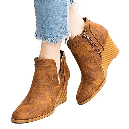 Vertvie Damen Stiefel Wedges Ankle Boots Niedrige Stiefeletten mit Absatz Increase Höhe Schuhe Keilabsatz Boots mit Blockabsatz Flandell Rutschfest kurzstiefel(Brown, 36 EU)