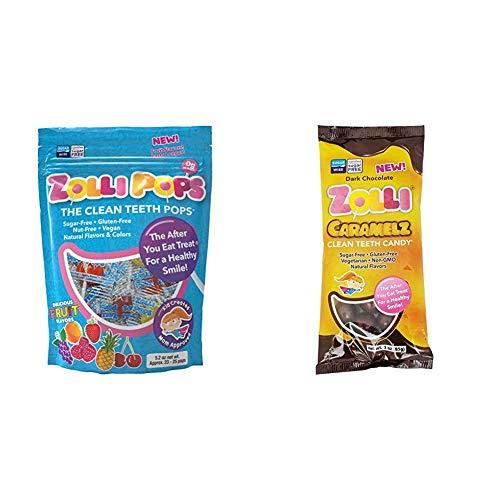 Zollipops Clean Teeth Lollipops 52 Ounces and Caramelz Cleen Teeth Candy Dark Chocolate 3 Ounces