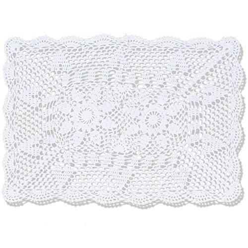 Copritavola/centrino rettangolare realizzato al 100% a mano, all'uncinetto, 100% cotone, bianco, 40,5 x 61 cm